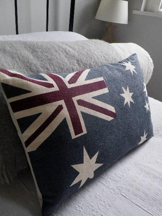 New hand printed Australian flag cushion cover