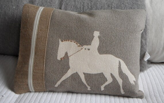 Handprinted dressage horse and rider cushion