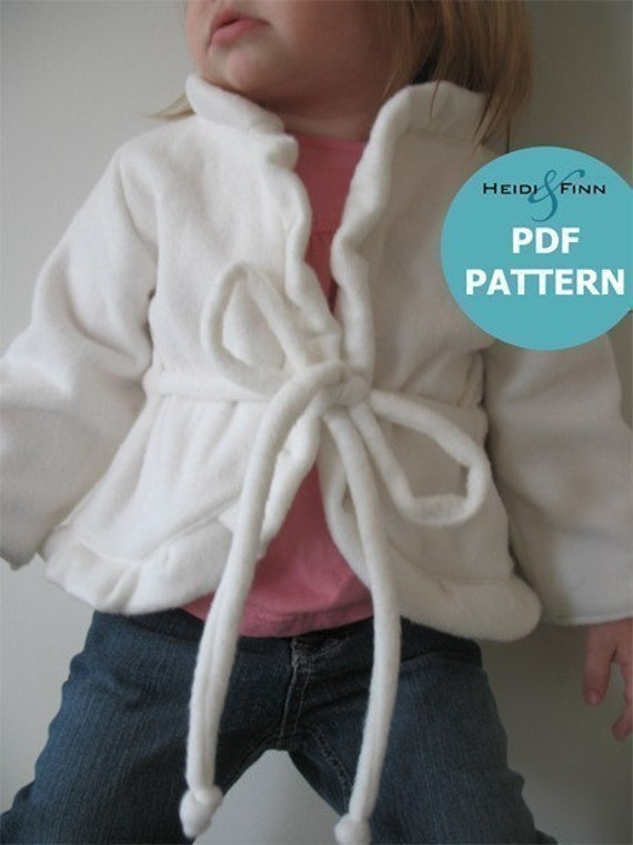 Girly Cardigan pattern and tutorial sweater 12M - 4T EASY SEW pdf DIY