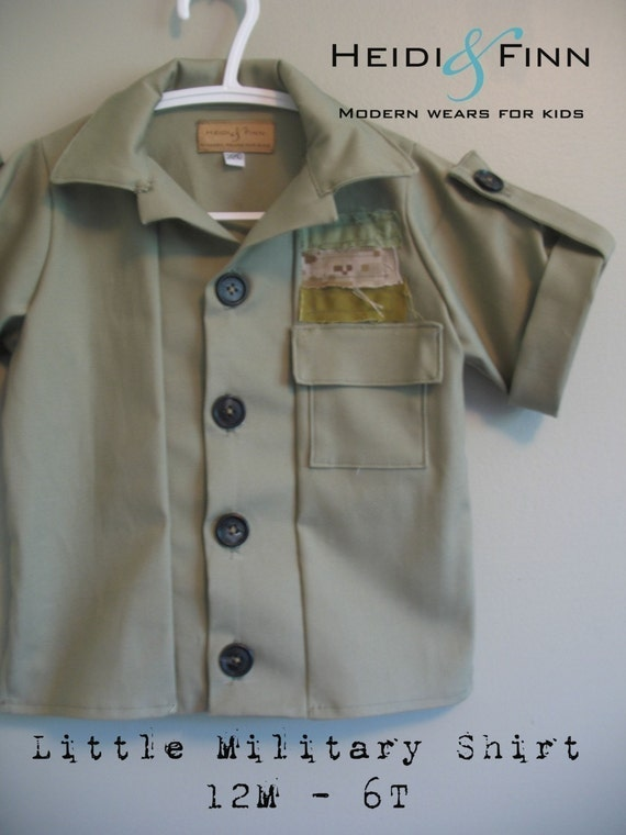 Little Military Shirt pattern and tutorial PDF 12m-6t slim fit shirt boys