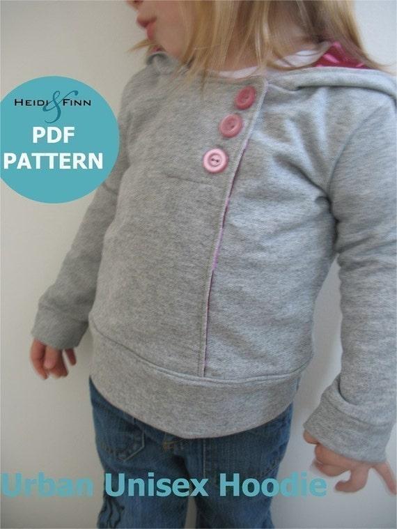 Urban Unisex Hoodie pattern and tutorial 6M - 5T PDF pattern DIY boy girl