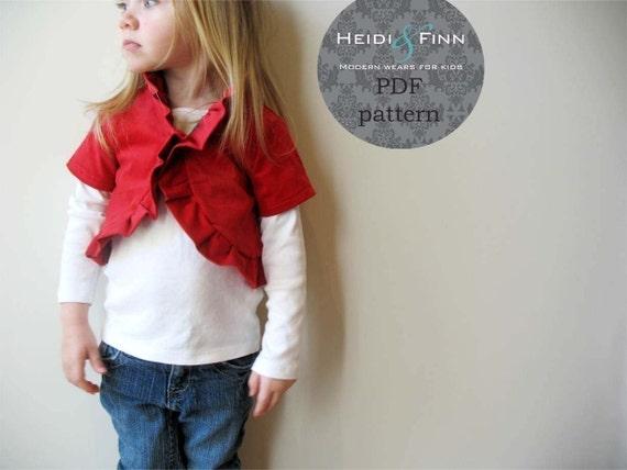 NEW Ruffle Bolero pattern and tutorial PDF 12m-5T perfect for the holidays DIY jacket sweater shrug