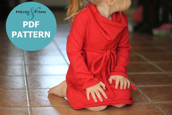 Cowl Neck Jumper Dress pattern and tutorial PDF 12m-6T EASY SEW tunic dress sweater