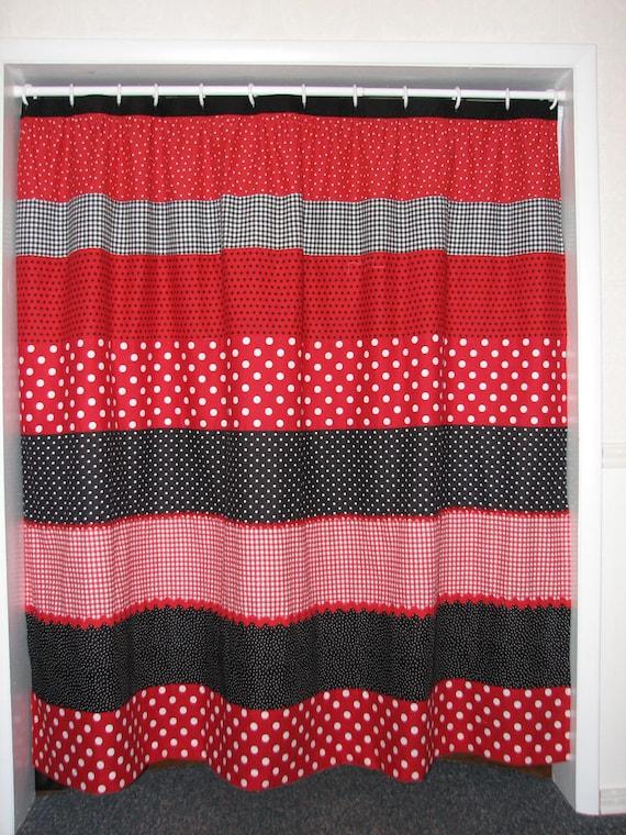 red and black polka dot shower curtain sale was 65. Black Bedroom Furniture Sets. Home Design Ideas