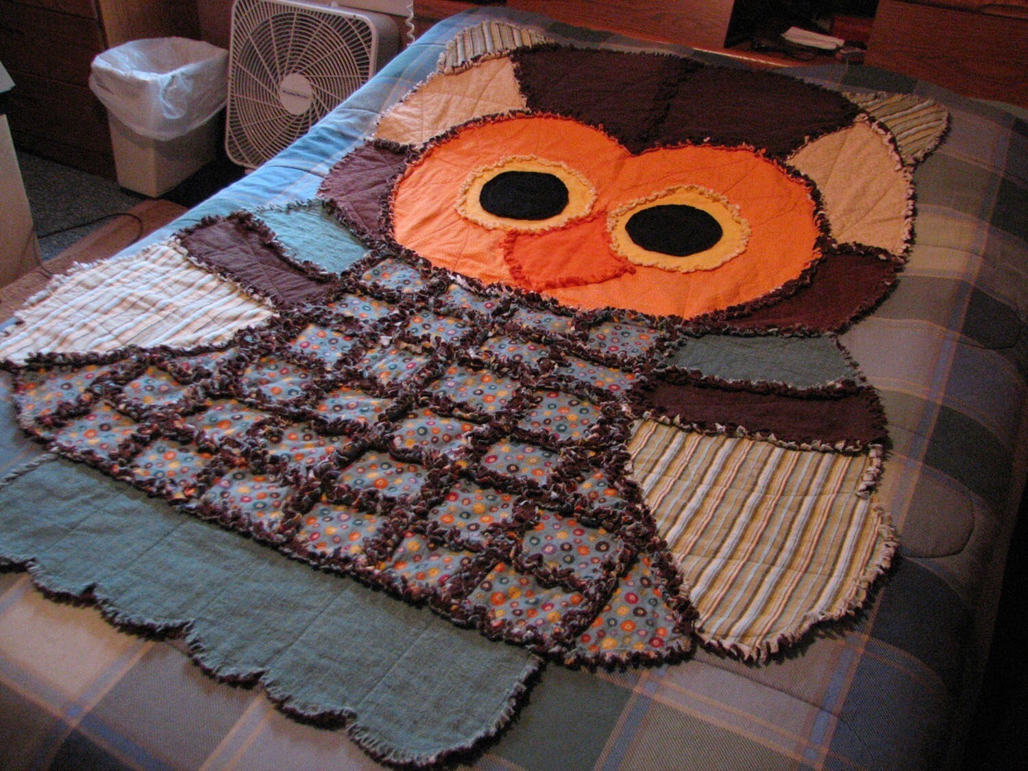 Rag Quilt Owl Pattern : Owl Rag Quilt or Play Rug ON SALE was 75