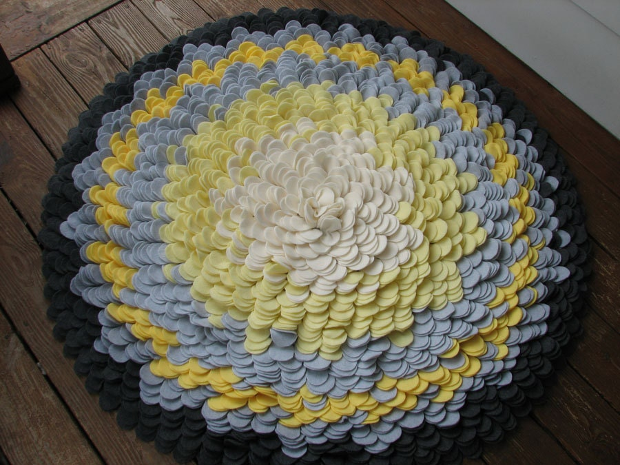Large Petal Rug In Yellow And Grey