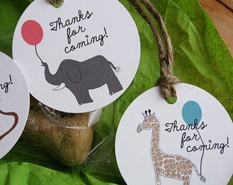 Zoo Animals Favor or Gift Tags - Set of 12