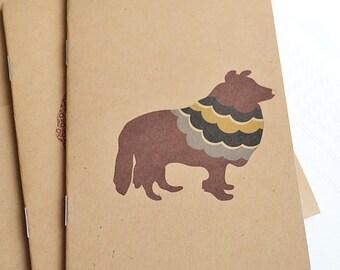 Little Notebooks Kraft Sheltie - Set of 2 Dogs Pocket Notebooks