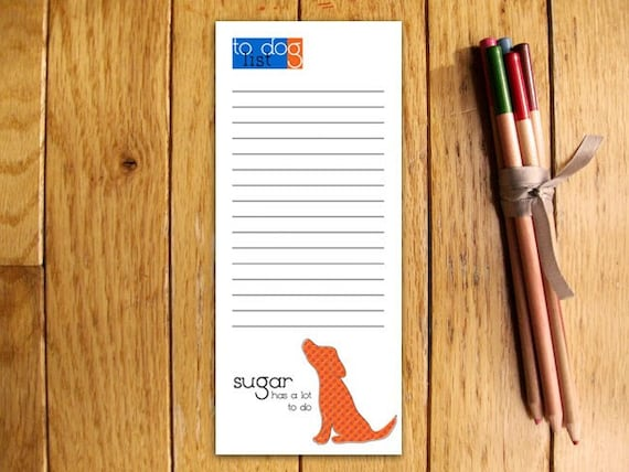 Red Dog Personalized Notepads -- To Dog List Custom Breed