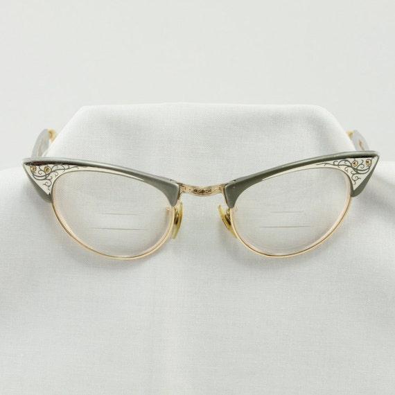 Vintage Shuron Eyeglass Frames : Vintage Shuron Cats Eye 1950 s Aluminum Glasses Frames