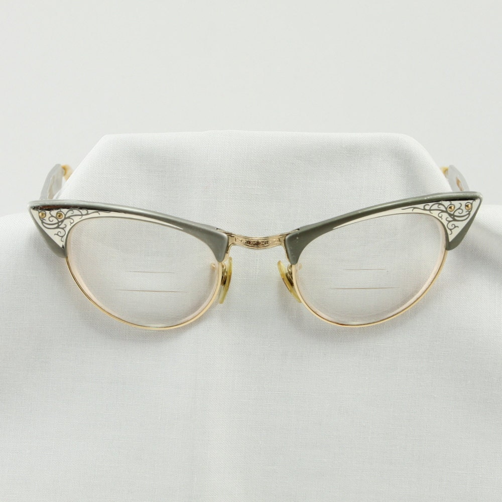 Cat Eyeglass Frames : Vintage Shuron Cats Eye 1950 s Aluminum Glasses Frames