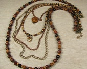 "Multi Strand Necklace with Om Charms ""Meditation"""