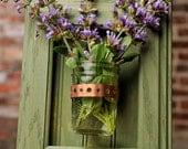 Framed Mason Jar Wall Sconce Moss Green Flower/ Plant/ Candle Holder