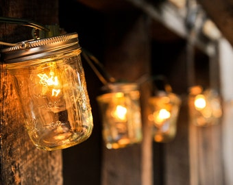 ON SALE Mason Jar Light Strand - Half Pint Jars