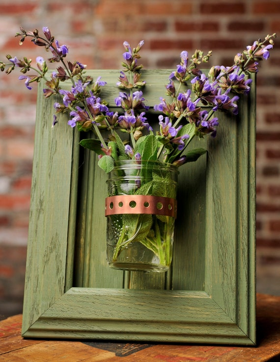 Framed Mason Jar Wall Sconce Moss Green Flower/ Plant/ Candle Holder