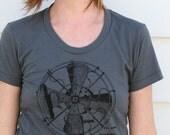Vintage Fan Steam Punk T-Shirt  American Apparel Asphalt Grey Hipster Tee for Women