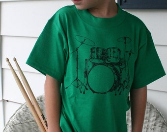 SALE CLEARANCE Rock Out Drum Set hand drawn design for kids on bright green shirts