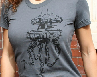 SALE CLEARANCE / Star Wars T-Shirt  Imperial Probe Droid  Women's American Apparel Scoop neck Tee in Asphalt Grey