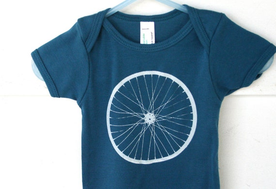 Bicycle Wheel American Apparel Organic baby Onesie in Galaxy Blue