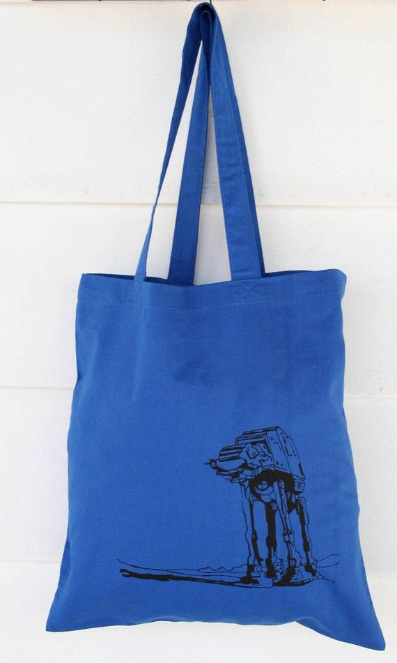 Atat Walker  Screen Print Design on Royal Blue Tote Bag
