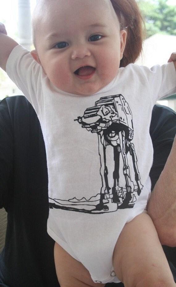 Star Wars ATAT Walker baby Onesie  6m, 12m, 18m,  white\/blue\/yellow\/pink