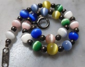 Vintage Art Glass and Sterling Silver Bead Bracelet