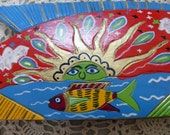 Vintage Carved Painted Fish in Wild Colors, Wood