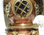 Vintage Replica Diving Helmet, Brass and Copper, Great as Bookend