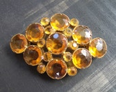 Circa 1920 Signed Czecho Faceted Amber or Topaz Glass Brooch