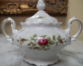 Johann Haviland Double Handle China Sugar Bowl With Lid, Moss Rose