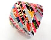 SALE Valentine - durable recycled magazine paper stripe cuff statement bracelet - MEDIUM - gift under 25