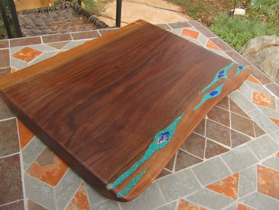 Large Wood Tray-  cutting board.  with turquoise and lapis gemstones- Extra Thick