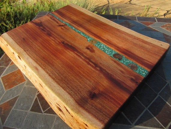 Large Honey Acacia Platter cheeseboard with  3 Ammonites and Turquoise
