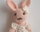 Reserved for Vicki Diane for The Artists of Etsy Exposed Series - Handmade Amelie , Lovely Crocheted Bunny Rabbit Doll READY TO SHIP