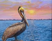 Original Sunrise Painting, Brown Pelican Painting, Seabird Painting,  Wall Art, Animal Art, Beach Decor
