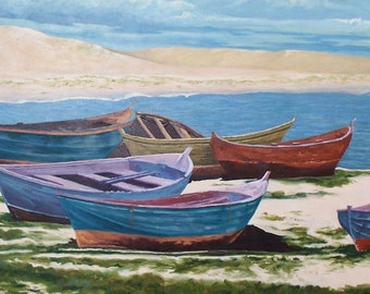 Row Boats Note card print from original painting blank art card