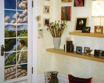 Hand Painted Custom Door Mural, Trompe L'Oeil Mural, Door Panel, Home Decor, Wall hanging