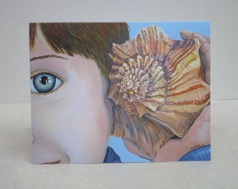 Boy with Shell Phone note card, fine art note card, blank note card