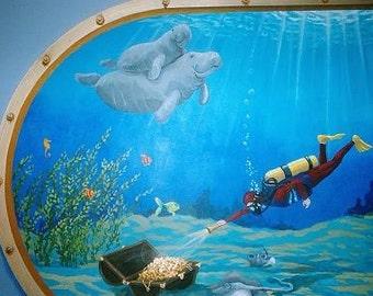 Aquarium Mural on Canvas  Kids room decor Nursery Decor Playroom Mural