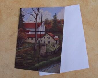 Fine Art Note Card,  NJ Country Estate, Autumn Fine Art Card