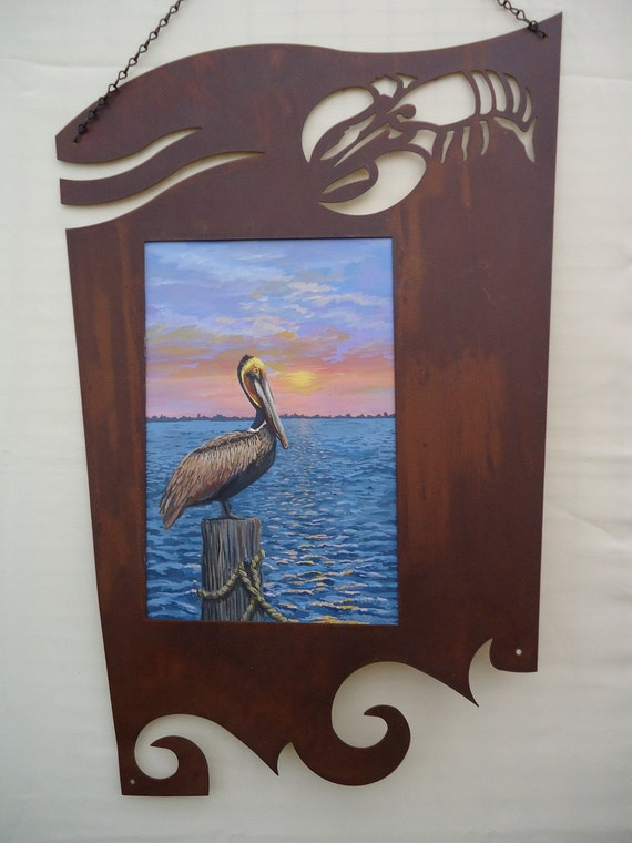 Pelican Painting in Rustic Frame, Bird Art, Beach Decor, Brown Pelican on Carolina Coast, Sunrise  Art, Wall Hanging, Wall Art