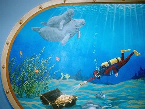 Aquarium mural on canvas kids room decor nursery decor for Aquarium decoration paint