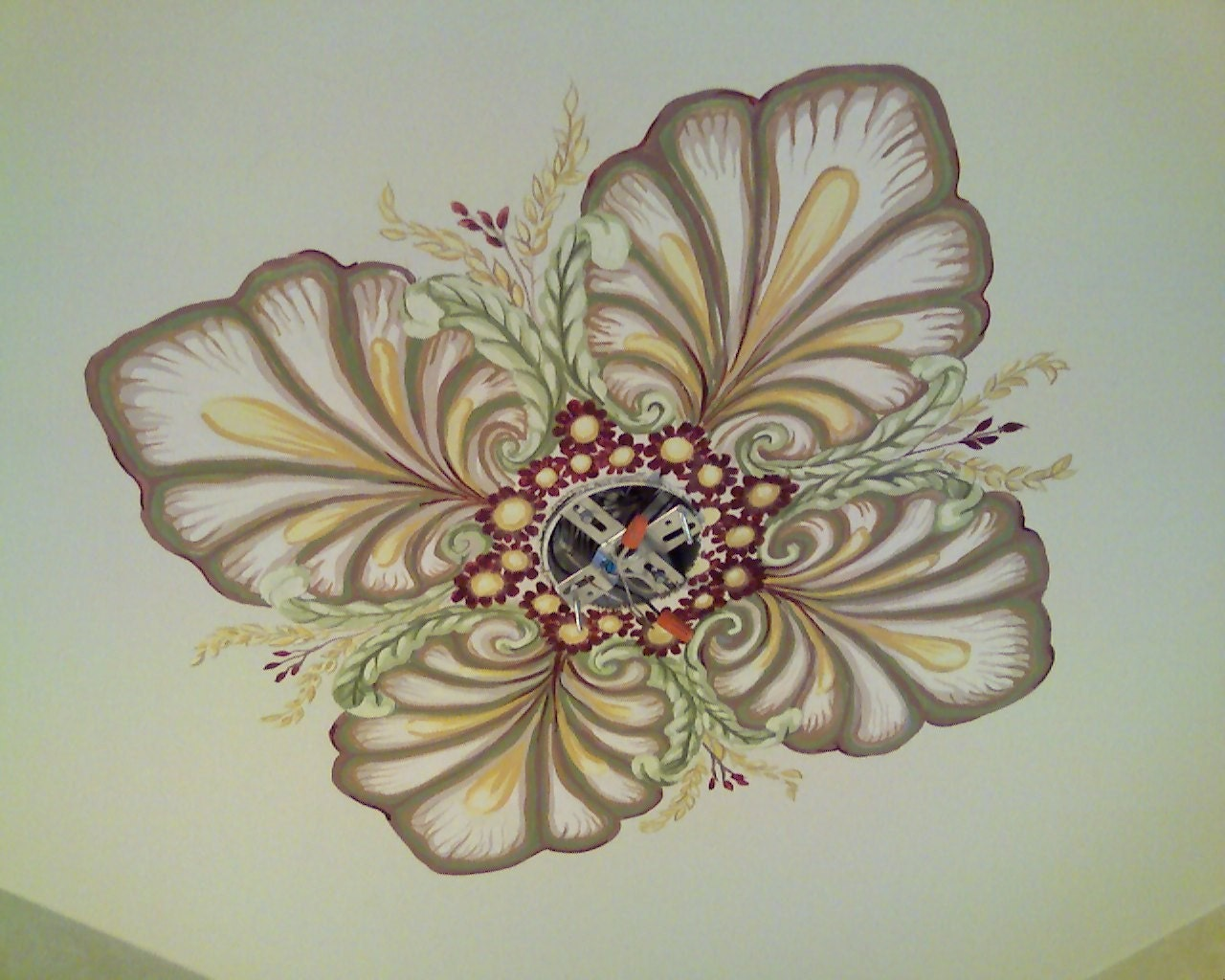 Hand Painted Ceiling Medallion Home Decor Match Wallpaper