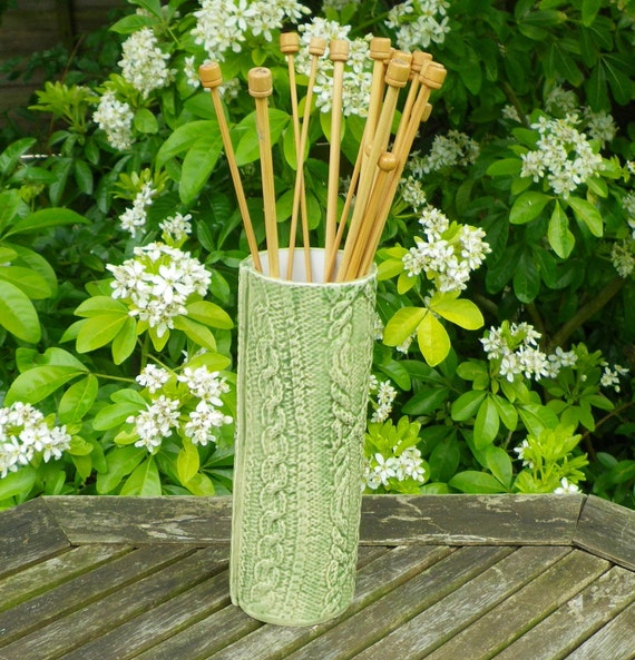 Knitting needle pot holder jar cable arran knitted ceramic pottery ceramics
