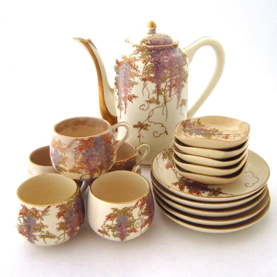 Vintage Full Tea Satsuma Set- Japan- Jape