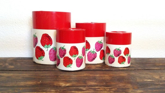 Pink Red Mauve Strawberry Canister Set