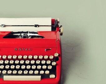 red typewriter PHOTO print