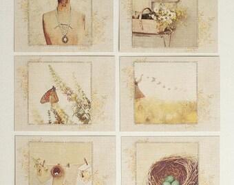 Nostalgia Yellow Postcards - gift set of 6