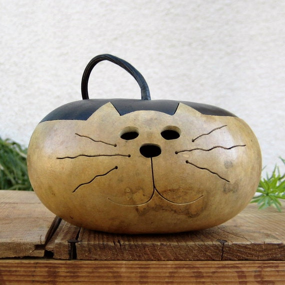 Cat Gourd Natural Centerpiece Kitty Decoration with Removable Top
