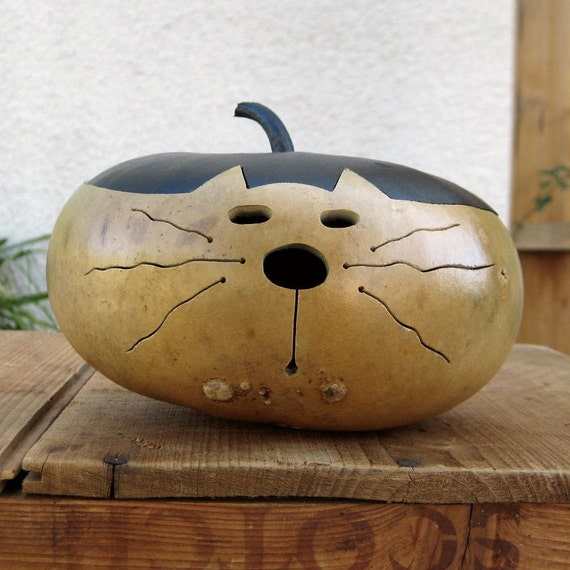 Gourd Cat Natural Kitty Centerpiece Decoration (with removable lid)
